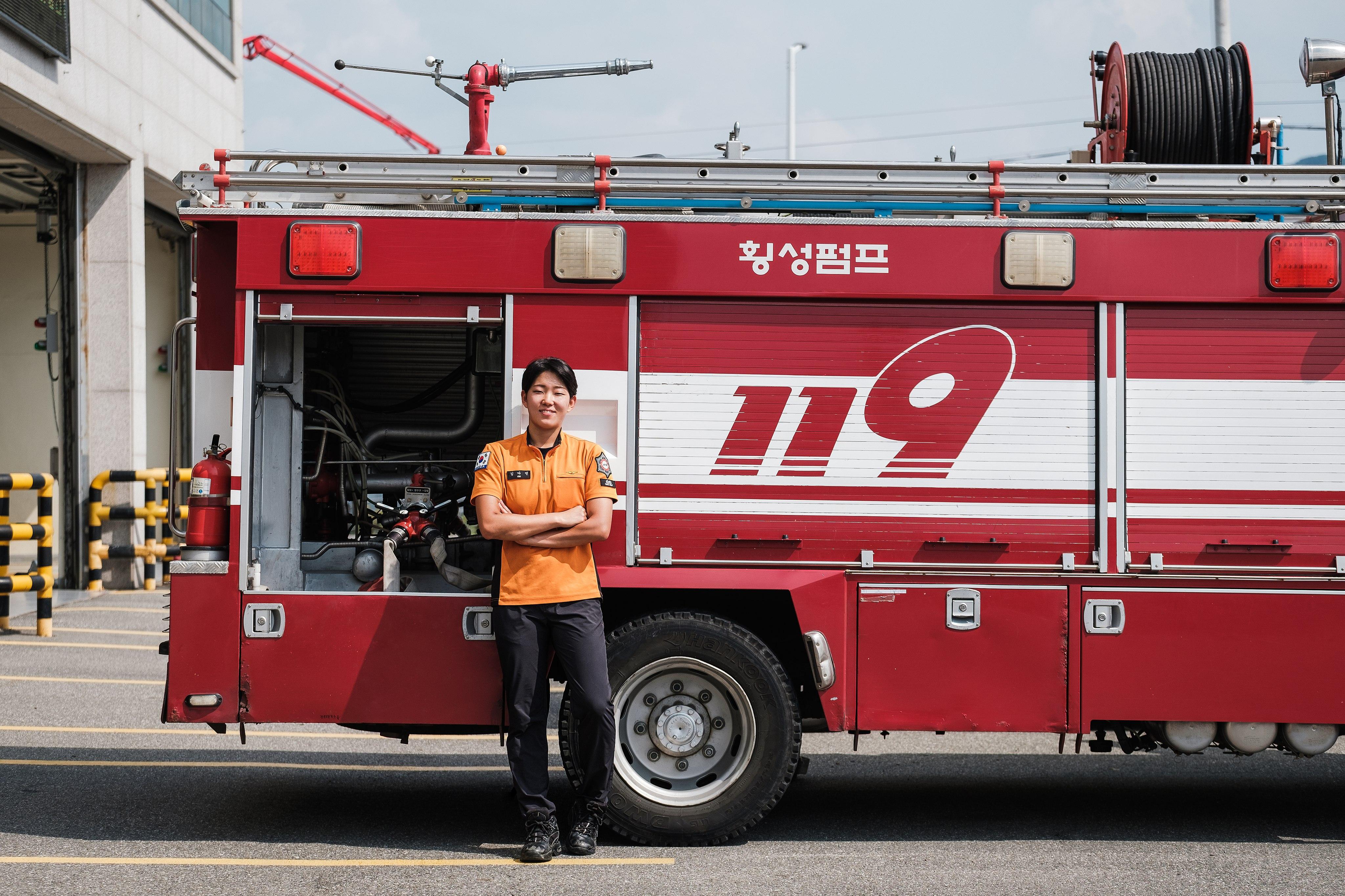 횡성소방서 여성 소방관 김다연 Republic of Korea female firefighter Kim Da-yeon 20190823-DSCF2161-편집