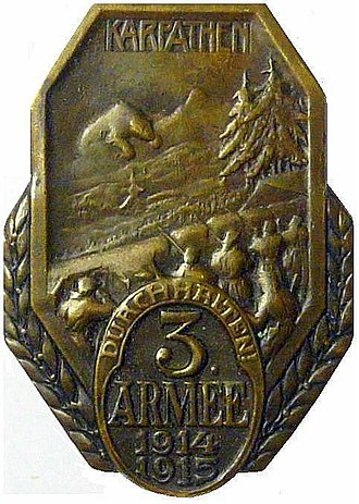 3rd Army (Austria-Hungary) - Cap badge for 3rd Army soldiers, depicting their offensive in the Carpathians