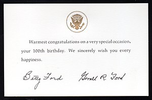 Centenarian - 100th birthday card from U.S. President Gerald Ford and First Lady Betty Ford