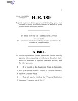 116th United States Congress H. R. 0000189 (1st session) - Financial Institution Customer Protection Act of 2019.pdf