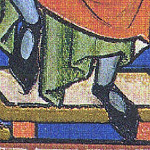 1200–1300 in European fashion - Shoes with an ankle strap and open instep, c. 1250