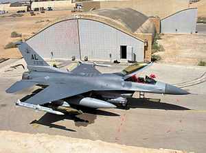 187th Fighter Wing - 160th Expeditionary Fighter Squadron F-16C 87-0336 at Al Udeid AB, Qata during Operation Iraqi Freedom, 2004.