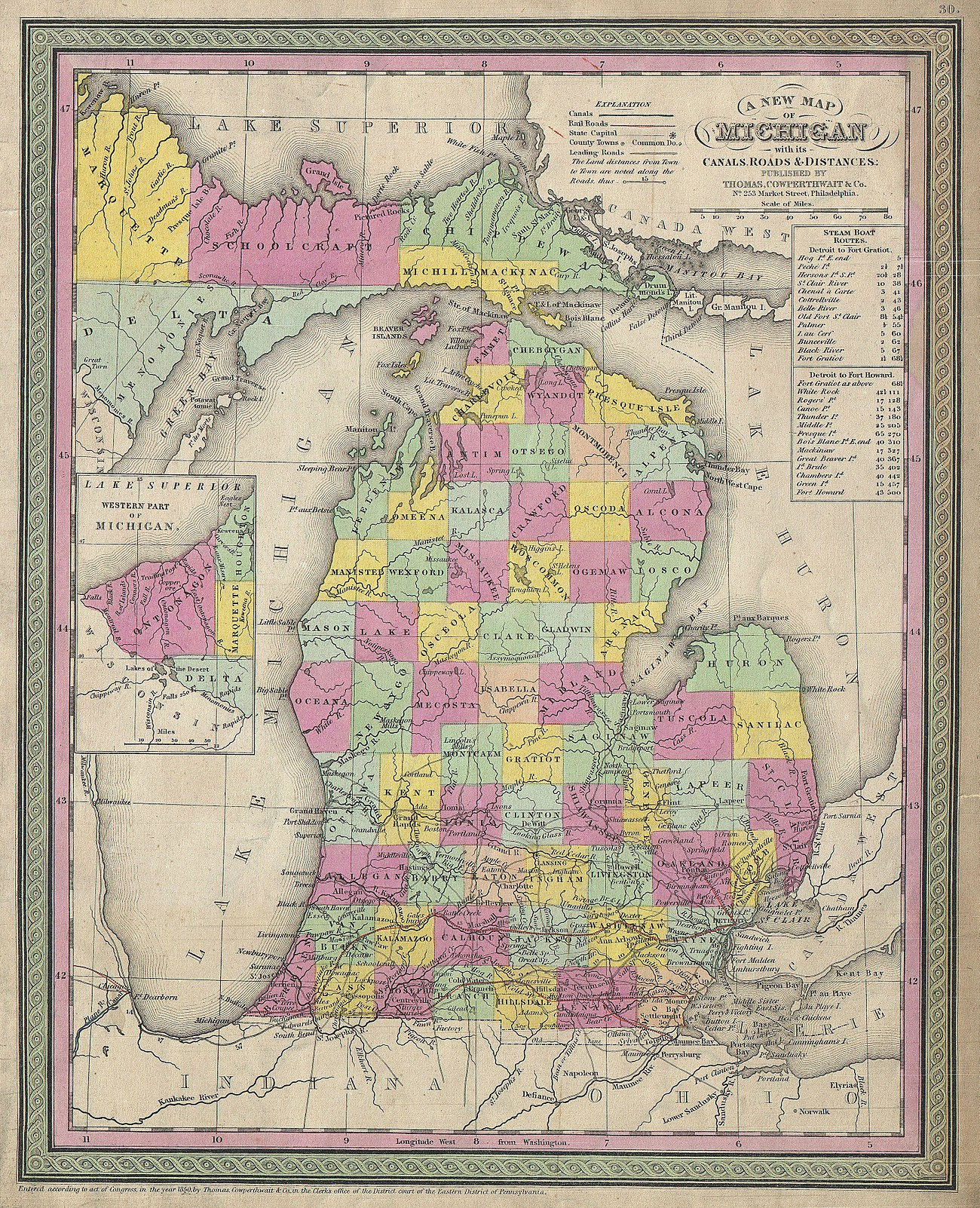 As settlers arrived between 1840 and 1853, the state broke up the single Michilimackinac County and established platted counties across Northern Michigan. This 1853 map by S. A. Mitchell shows an improved understanding of the contours and inland lakes and streams of Northern Michigan based on recent land surveys.