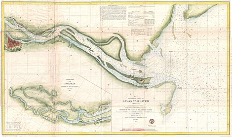 water map of the Savannah river from the city emptying out into the Atlantic with channel depths noted, an inset shows coast running north off the map towards Charleston SC