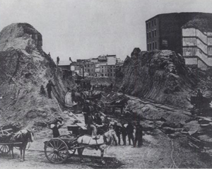 Fort Point, Boston - Removal of Fort Hill, Boston, 1869
