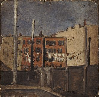 Jerome Myers - Backyard 1888, oil on board