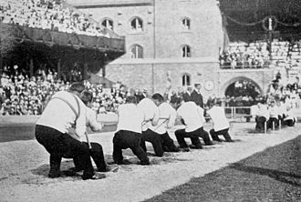The only tug of war bout which took place at the 1912 Games 1912 summer olympics tug of war.jpg