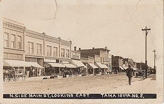 Tama, Iowa - Image: 1913 RPPC of Main St., Tama, Iowa