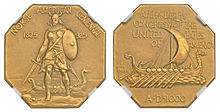 "An octagonal gold medal depicting a Viking chieftain; full details in ""Design"" section"