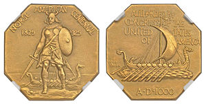 Norse-American medal - Image: 1925 Medal Norse Gold commemorative