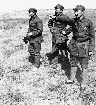 Xiao Ke - Xiao Ke, left, with Nie Rongzhen and Yang Chengwu near the front lines during the Chinese Civil War in 1947.