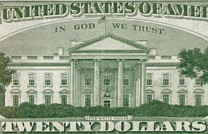 Enlargement of the 20-dollar bill. Enlargement...