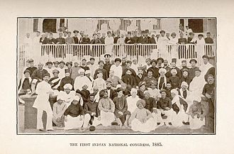 Indian independence movement - Image of the delegates to the first meeting of the Indian National Congress in Bombay, 1885.
