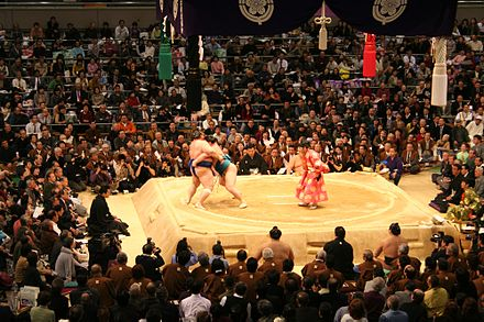 Sumo wrestlers at the Grand Tournament in Osaka, March 2006