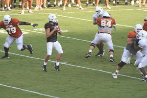 Jevan Snead - Jevan Snead fades back to pass in an intra-squad scrimmage at the University of Texas