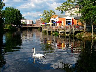 Pawcatuck River - The Pawcatuck River, looking north, with Westerly, RI buildings in view, and Pawcatuck, CT just off to left.