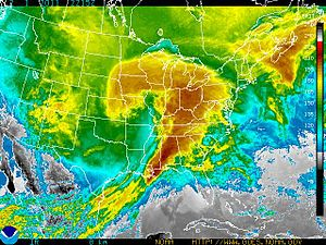 January 31 – February 2, 2011 North American blizzard - NOAA color-enhanced photograph of storm system on February 1, 2011.