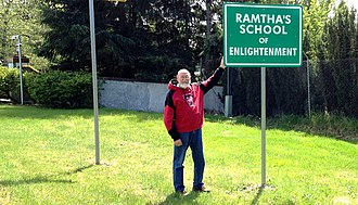 Ramtha's School of Enlightenment - Sign along WA 510. The entrance to Ramtha's School of Enlightenment is in the background on the left.