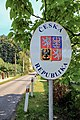 2012 Piotrowice koło Karwiny, Herb Republiki Czeskiej na znaku przy wjeździe do wsi.jpg