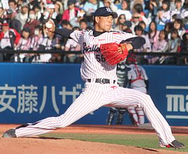 20130417 Kenta Abe, pitcher of the Tokyo Yakult Swallows, at Meiji Jingu Stadium.JPG