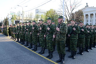 Separatist forces of the war in Donbass - DPR troops in Donetsk during a rehearsal for the 2015 Victory Day parade