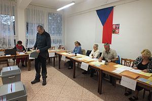 Senate of the Czech Republic - Polling station of the electoral district no. 70 in Olomouc during Czech Senate elections and the regional elections held in the Czech Republic on 7 October 2016