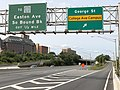 2020-09-14 13 12 25 View north along New Jersey State Route 18 at the exit for George Street (College Avenue Campus) in New Brunswick, Middlesex County, New Jersey.jpg