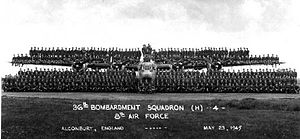 36th Electronic Warfare Squadron - Group photo of the 36th Bombardment Squadron, Alconbury Airfield, England, May 1945