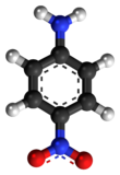 Ball-and-stick model of the p-nitroaniline molecule