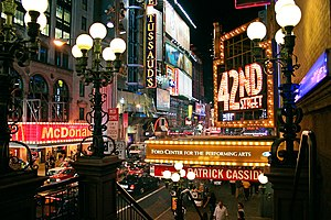 42nd Street (Manhattan) - Looking west along 42nd Street from Seventh Avenue in 2004, including a marquee for a revival of the musical 42nd Street