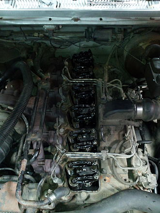 Valvetrain - The exposed valvetrain of a 5.9 Cummins in a 1991 Dodge Ram