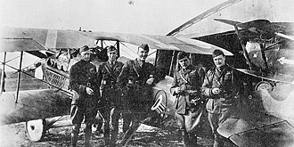 94th Aero Squadron - SPAD XIII and pilots of the 94th Aero Squadron, Foucaucourt Aerodrome, France, November 1918 Identified pilots are: 1LT Reed Chambers, Capt James Meissner, 1LT Eddie Rickenbacker, 1LT TC Taylor and 1LT JH Eastman