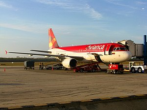 Ernesto Cortissoz International Airport - Avianca airbus A320 at gate 5 arriving from Miami