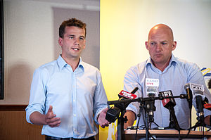 ACT New Zealand - David Seymour and Jamie Whyte at the ACT selection announcement for Leader and Epsom in February 2014
