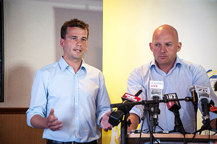 David Seymour and Jamie Whyte at the ACT selection announcement for Leader and Epsom in February 2014 ACT Selection Announcement for Leader and Epsom- Seymour & Whyte.jpg