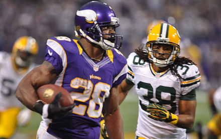 In 2012, Adrian Peterson rushed for 2,097 yards - 8 yards short of Eric Dickerson's single-season record. AD 2097 yards.jpg