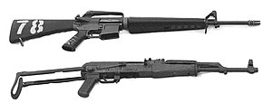 M16A1 (top) and AKMS (bottom)