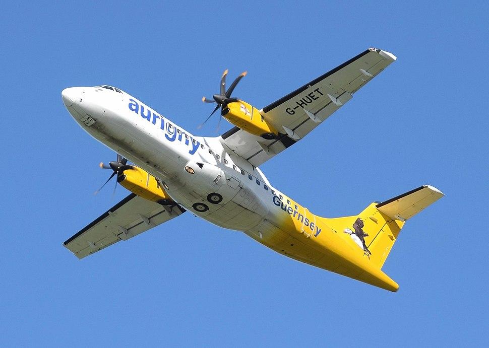 ATR 42-500 of Aurigny Air Services (G-HUET) takes off from Bristol Airport, England 8Sept2016 arp