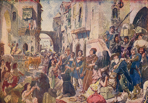Persecution of Jews and Muslims by Manuel I of Portugal - Expulsion of the Jews in 1497, in a 1917 watercolour by Alfredo Roque Gameiro
