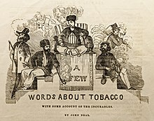 Engraving of black ink on yellowed paper showing a group of men smoking tobacco over the title of the article and John Neal's name