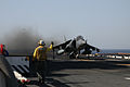 A U.S. Marine Corps AV-8B Harrier II aircraft assigned to Marine Medium Tiltrotor Squadron (VMM) 266 takes off from the amphibious assault ship USS Kearsarge (LHD 3) in the Red Sea April 7, 2013 130407-N-GF386-062.jpg