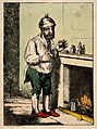 A man standing by a fire place, pulling a peculiar face afte Wellcome V0011136.jpg