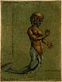 A mermaid, with a measuring scale. Colour aquatint by A. Gau Wellcome V0007464EL.jpg
