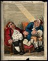 A pair of obese gouty men in night-caps gaping at a fly in f Wellcome V0010866.jpg