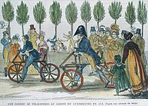 A velocipede race at Jardin du Luxembourg in 1818.jpg