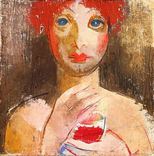 Une femme avec un verre de Vilmos Aba-Novák.