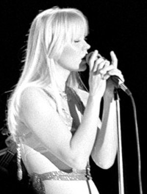 Agnetha Fältskog - Fältskog at the opening concert of ABBA's European and Australian Tour in Oslo, 28 January 1977.