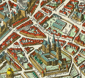 Théâtre de la foire - The Abbey of Saint-Germain-des-Prés in 1615 with the Foire Saint-Germain just behind, the Église Saint-Sulpice (upper right) and the old city wall with two gates (upper left) on the Merian plan of Paris