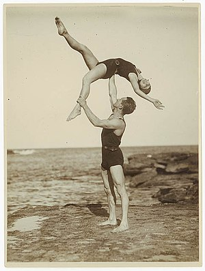 Sam Hood - Acrobats, Sydney, 1930s Sam Hood (Possibly John M. Hendry, bodybuilder and physical culture writer.)