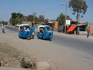 English: Bajaj auto rickshaws in Adama, Ethiopia.